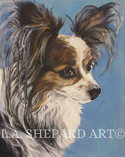 """PAPILLON dog portrait art Canvas PRINT of LAShepard painting LSHEP 8x10"""""""