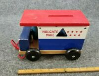 VINTAGE HOLGATE MAIL TRUCK WOODEN PULL TOY