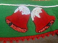 Vintage Christmas Tablecloth Mid Century Felt Sequin Jeweled Red Bells Complete