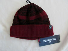 True Religion Men's Oxblood Red Cashmere Blend Short Knit Beanie Cap