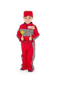 Children's Kids Boys Red Racing Car F1 Driver Overalls Suit Fancy Dress Costume