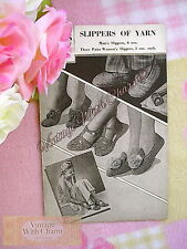 Vintage Crochet & Knitting Pattern 4 Styles Of Slippers. ONLY £2.99 + FREE P+P!!