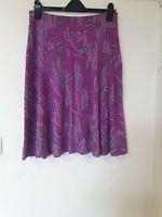White Stuff Purple Leaf Plant Print Flare Skirt Size 12