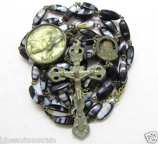 """† SCARCE XL ANTIQUE SWIRLED AGATE LOOKING OVAL GLASS ROSARY  29"""" ST CHRISOPHER †"""