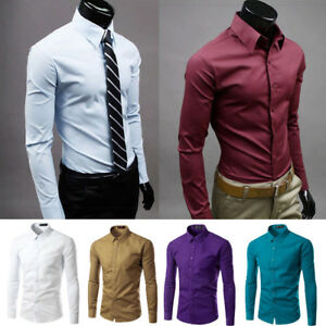 Men's Casual Shirt Cotton Slim Fit Long Sleeve Formal Business Dress Shirt