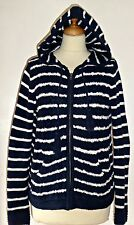 FAT FACE nautical striped cotton hooded cardigan top UK 12