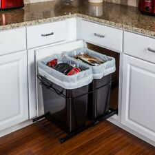 Double 35 Quart Black- Trash Can Pull-Out System- with 2 Cans