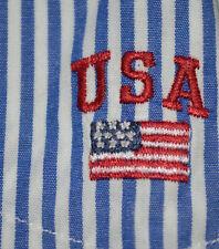 Polo Sport Ralph Lauren Bengal Blue White Striped Shirt L Large Rare Usa Flag