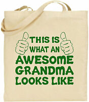 Awesome Grandma Large Cotton Tote Shopping Bag Canvas Mother Day Funny Gift Nan