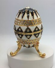Gold Plated Black and White Crystal Faberge Egg Ornament