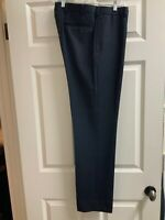 Brooks Brothers Navy Blue 100% Wool Flat Front Dress Pants Size 33