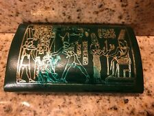 Vintage Leather Egyptian Coin Purse Green