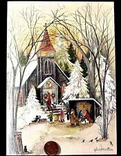 Church Chapel Trees Snow Nativity Scene - Gift of Christmas Greeting Card - New