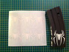 AR Magazine SPIDER Sticker 6 Pack, Spiderman, AR 15, AK, WHITE!