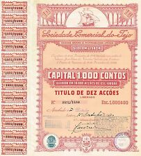 PORTUGAL SOCIEDADE COMERCIAL DO TEJO stock certificate 1940 10SH