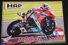 Card HRP Honda CBR 1000RR 2013 #18 Michael Ranseder (AUT) IDM SBK (HW) Signed