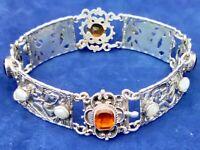 Vintage Austro-Hungarian Style Silver Citrine Mabe Pearl Panel Bracelet Vienna