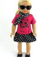 """Doll Clothes 18"""" Skirt Polka Dot Blouse Scarf Fits American Girl Doll"""