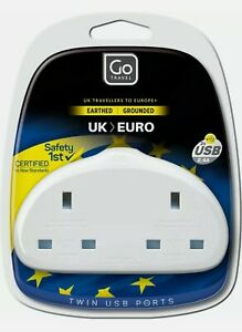 GO TRAVEL EARTHED UK TO EURO MAINS PLUG ADAPTER TWIN DOUBLE 2.4A USB