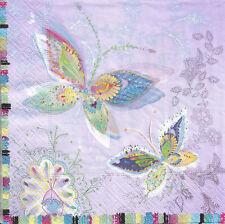 Lot de 4 Serviettes papier Papillons Lune d'argent Decoupage Collage Decopatch