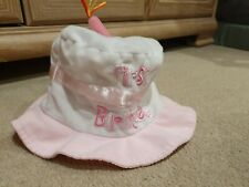 1st Birthday Baby Hat Cake with Candle Pink & White Girls First Party Keepsake