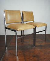 70er Vintage Esszimmer Stuhl Vinyl Chrom Retro Lounge Chair Sessel 60er 1/2