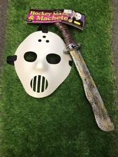 Hockey Mask & Machete Set Jason Friday the 13th Halloween Fancy Dress Scary