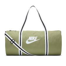 New Nike Heritage Duffel Bag Gym Bag Travel Olive White Zip BA6147-310 NWT