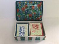 Horchow Floral Porcelain Divided Lidded Box with 2 Decks Of Playing Cards