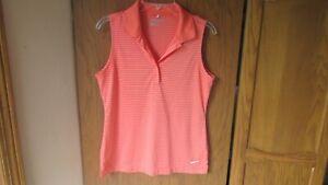 Nike Golf Tour Performance Dri Fit Women's Orange Striped Sleeveless Polo M