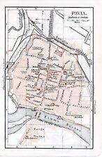 Pavia + Novara 1912 piantina di città orig Ticino Cattedrale Passalacqua Eufemia