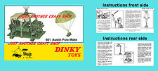 Dinky Toys 601 Austin Para Moke Military Instruction Leaflet Poster Advert Sign