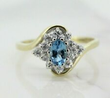 9ct Yellow Gold Blue Topaz and Diamond Cluster Ring (Size O 1/2)