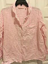 Victoria Secret Cotton Pajama PJ top sleepshirt striped M iconic pink shirt