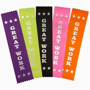 5 Great Work Award Ribbons - Mixed Colours - Metallic SILVER print