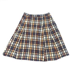 Handmade Vintage Black Tan Checkered Pleated Tweed Textured Weave A-line Skirt