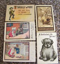 Rare Vintage Antique Postcard Lot Comic Bachelor Dog World Destruction Kids Cute