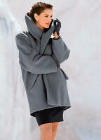 Grey Thigh Length Wool and Cashmere Blend Coat with an Oversized Collar