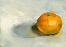 5x7 PRINT - Lonely Clementine - fruit, food, still life, foodie, oil painting
