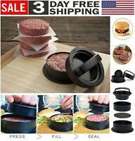Non Stick Stuffed Burger Press Hamburger Patty Molds Maker Tool Beef Sliders BBQ