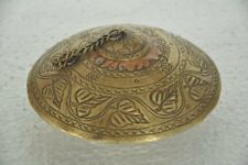 Old Brass Unique Disc Shape Inlay Engraved Handcrafted Tobacco Powder Box