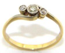 Mujer 18 Quilates 18Ct Oro Amarillo Diamante Anillo Pedida Trilogía TALLA RU M