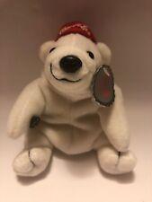 Vtg Bean Bag Plush 1997 Coca Cola White Polar Bear Red Baseball Coke Hat 0111