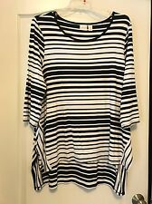 NWOT Chico's Black & White Stripped L/S Trapeze Style Sz 16 Pullover Top!
