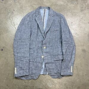 Billy Reid Blue Linen Cotton Unstructured Sport Coat Jacket Men's 40 R MiItaly