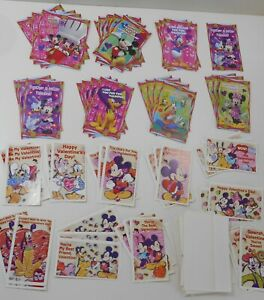 55 Bulk Lot Disney Mickey Mouse Characters Classroom Valentine Cards- UNUSED