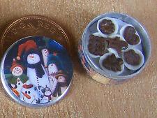 1:12 Scale Full Round Biscuit Tin Tumdee Dolls House Kitchen Christmas Bt22c