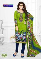 Unstitched Salwar Kameez Suit Indian Pakistani Asian Printed Ethnic Synthetic