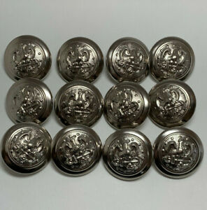 Vintage Silver Metal Eagle Crest Buttons 12 In Lot 1 inch