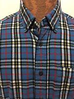 L.L. Bean Mens M Reg Blue Plaid Brushed Cotton Button-Down Long-Sleeve Shirt